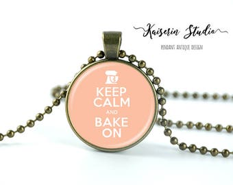 Keep Calm And Bake On pendant, Handmade jewelry necklace, best price and fast shipping.