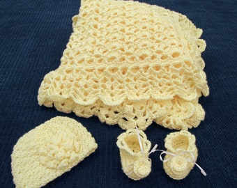 Sunshine Yellow Crochet Blanket Hat and Bootie Set