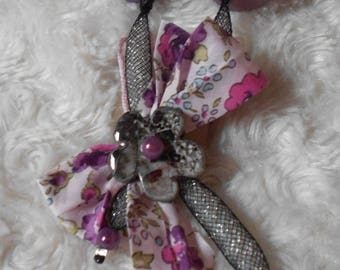 Necklace mesh black, purple and liberty fabric