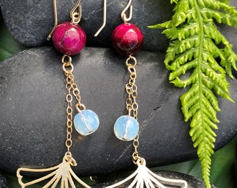 Gold Ginkgo with Opalite and Rose Red Tiger Eye Beads: Soul on Fire