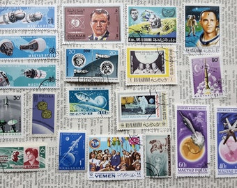 Lot of 20 pcs Mix Space Postage Stamps,Gagarin,USSR Post Stamp,Appollo 11,Briefmarke,USA J.Glenn,United States Space