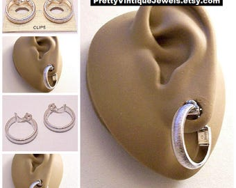 Monet Brushed Band Hoops Clip On Earrings Silver Tone Vintage Large Round Open Florentine Lined Wide Domed Ring Dangles Comfort Paddles