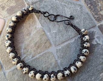Dalmation Jasper Gemstone & Black Wire Wrapped Bangle Bracelet