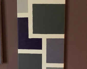 Purple monochromatic geometric painting