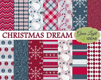 Christmas Digital Paper, Christmas Patterns, Winter Backgrounds, Holiday Digital Paper, Winter Digital Paper, Christmas Scrapbook Paper Xmas