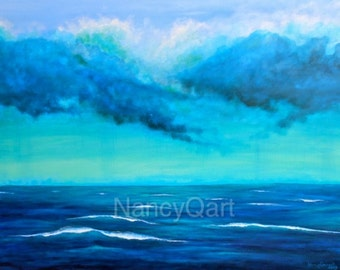 Original seascape painting, extra large blue ocean painting on canvas, original artwork by Nancy Quiaoit at Nancys Fine Art