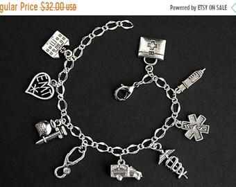 MOTHERS DAY SALE Emt Bracelet. Medical Technician Charm Bracelet. Emergency Medical Technician Bracelet. Medical Bracelet. Silver Bracelet.