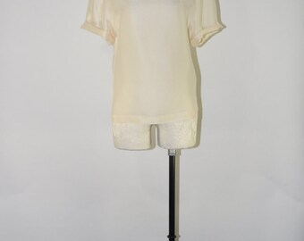 cream silk blouse / vintage silk tee shirt / 90s silk blouse / short sleeve silk top