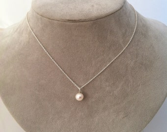 Freshwater Pearl Solitaire necklace -- sterling silver
