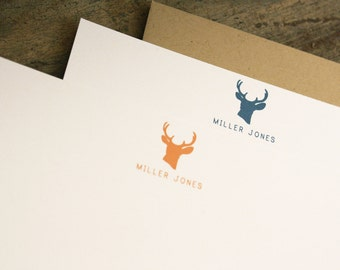 Deer Personalized Stationery - Antlers Boys Mens Stationary Set of 20 Flat Note Thank You Cards
