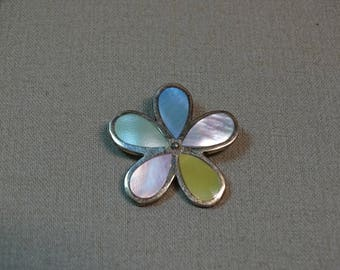 Sterling Silver Flower Pendant Inlaid Multicolor Shell
