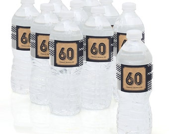 60th Birthday Party - Water Bottle Sticker Labels - Personalized Waterproof Self Stick Labels - 60th Milestone Birthday Favors - 10 Ct.