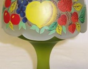 Westmoreland Glass Green Mist FRUIT 2 Piece CANDLE LAMP