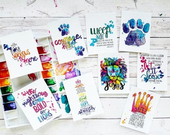 The Lion of The Tribe of Judah Christian Journaling Cards 3x4 Pocket Pages Letters Print Fine Art Project Watercolor Life Lion Crown king