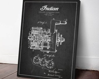 1929 Indian Motorcycle Disk Clutch Patent, Canvas Print, Wall Art, Motorcycle Print, Motorbike Art, Home Decor, Gift Idea, TR09C