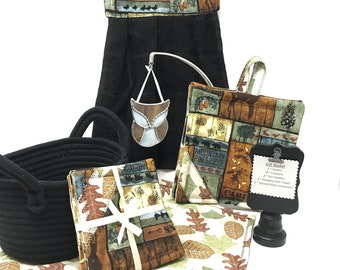 Cabin Theme Kitchen Gift Basket For Him, Cabin Rustic Decor, Outdoor Fabric, Hanging Dish Towel, Potholders, Coasters, Father's Day Gift