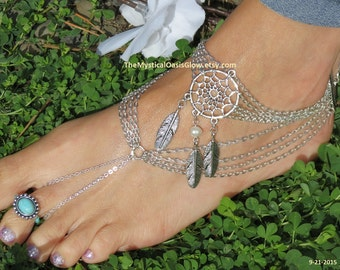 jewellery anklet barefoot beach ethnic foot summer dream market etsy catcher sandles dreamcatcher body il