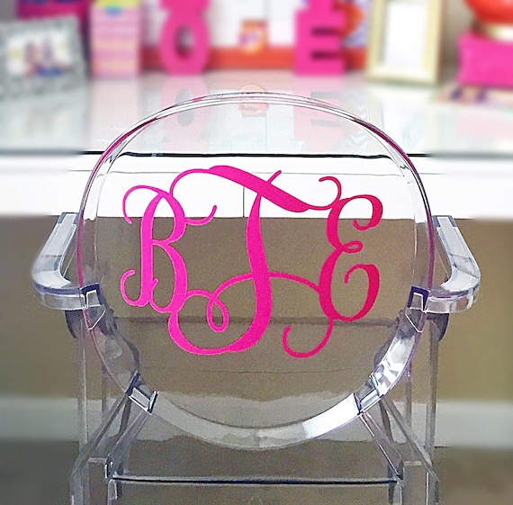 & Large Decal Monogram Ghost Acrylic Chair 9.5 inches height