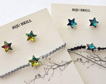 Crystal Star Stud Earrings, Star Bracelet, Stars Set, Sterling Silver, Macrame Bracelet, Celestial, Universe Jewelry, Women Gift, Gift Set