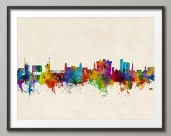 Fayetteville Skyline, Fayetteville Arkansas Cityscape Art Print (2796)