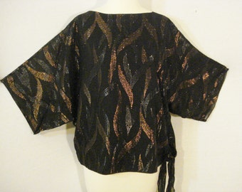 Abstract Dolman Sleeve Blouse Vintage Siasia New York Dressy Top SM