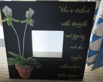 Gifts for Her She Laughs Mirror w/ Orchid Black Mirror White w/ Green and Gold with Bible Verse Proverbs 31