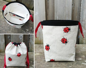 Ladybug Print Linen Knitting Bag, Sock Knitting Bag, Sock Project Bag for two at a time sock knitting - Sock sack