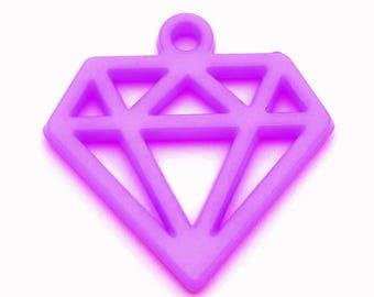 Diamond charm 40mm purple plastic