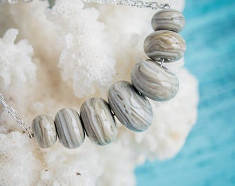 Grey ivory necklace_murano glass_statement necklace_handmade lampwork_marble pattern_organic ooak_minimalist modern_everyday jewelry