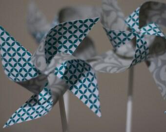 Escort Cards wedding party 12 Mini Pinwheels Grey Love- Custom orders welcomed