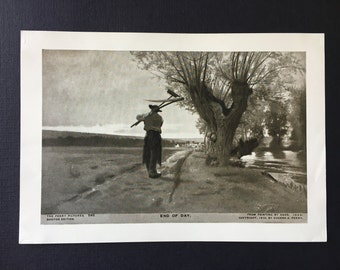 Perry pictures #586, vintage art print, end of day reproduction, paper ephemera, artist Adan, Perry pictures sepia toned prints, black white