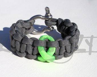 Lyme Disease Lymphoma Muscular Dystrophy LIME Awareness Ribbon 550 Paracord Survival Strap Bracelet Anklet with Stainless Steel Shackle
