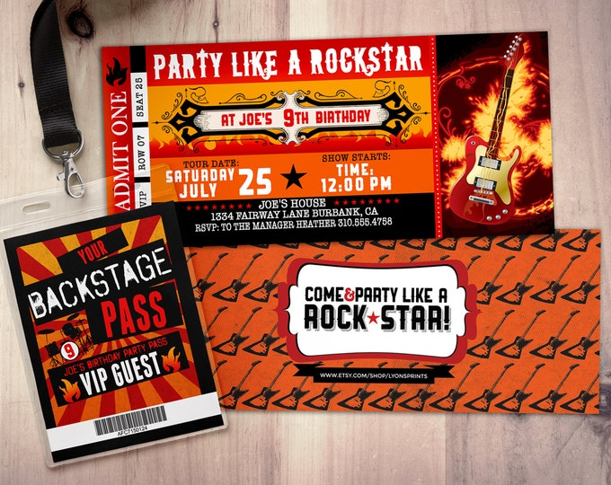ROCK STAR concert ticket birthday party invitation- Music invitation- photo card, printable, rockstar party, flames, guitar, rocker