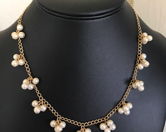 Sweetheart 1980's Gold And Faux Pearl Cluster Avon Necklace
