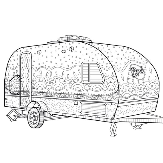 Printable Coloring Page Zentangle Camping Coloring Book