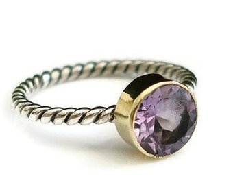 Amethyst Stacking Ring Rope Detail Gold/Silver, February Birthstone Ring, Stacking Ring, Promise Ring, Mistry Gems, R19A