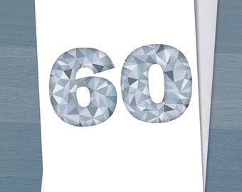 Diamond Wedding Card, Happy Diamond Wedding Anniversary, 60 years married, 60th wedding anniversary, Typography, Typographical