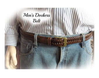 Leather Braided Belt, Trousers Belt, plaited belt -Dockers Belt -Hippie Festival Boho -  size up to 40 inches ,  # B 19