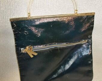 Small Blue Leather MOD Vintage 1960's Paristyle Women's Handbag Purse