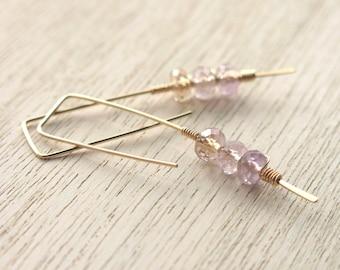 Lavender Gold Twigs Earrings . Amethyst Ametrine Goldfilled Modern Geometric Earrings