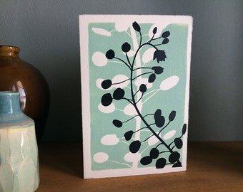 Hand printed lino card - Original print - Simple 'Oval Leaf' block design. Thank You, Greeting & 'Just Because' cards