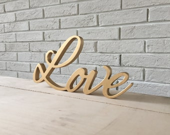Table sign wooden letters wall sign Love letters, love glitter, LOVE sign for wedding table , table sign, wedding sign