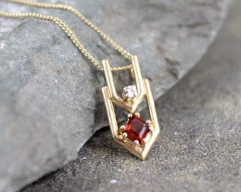 Vintage Garnet and Diamond Necklace - January Birthstone - 10K Yellow Gold - Vintage Chevron Shape Pendant