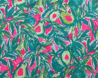 """pink sunset guac and roll dobby cotton fabric square 18""""x18"""" ~ lilly resort 2017 ~ lilly pulitzer"""