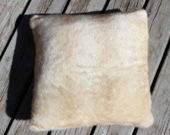 "Fur Pillow Cover, Fawn Mink Pillow, Faux Fur Pillow Cover, 21"" Luxe, Zipper Closure, Neutral"