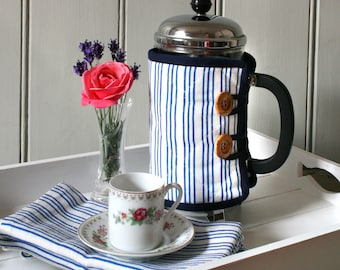 Linen Union Blue and White Striped Cafetiere Cosy
