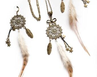 Boucles d'oreilles bronze Shaman plumes