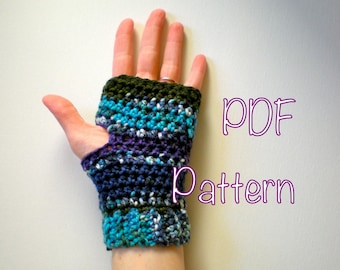 PATTERN:  Fingerless Gloves, The Cold Mountain Mitts, Easy crochet PDF, texting wrist warmers, mittens, InStAnT DoWnLoAd, Permission to Sell