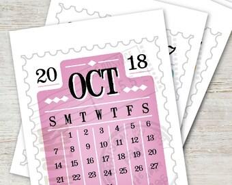 STAMP Printable Desk Calendar 2018 2019 INSTANT DOWNLOAD Digital Monthly Planner Yearly Vintage Typography Mini Calendar Art