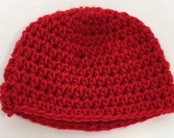 Crochet Red Baby Hat